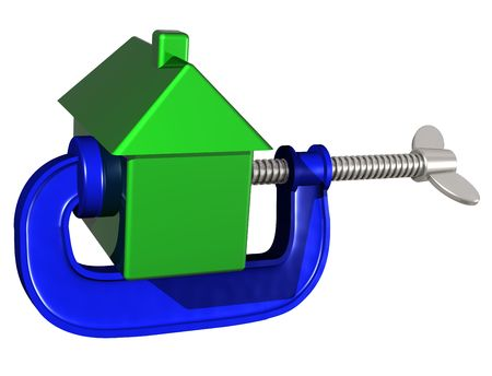 eviction: Isolated illustration of a house being squeezed in a g clamp