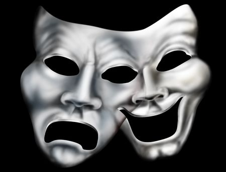 merged: Stylized illustration of two theater masks merged into one Stock Photo