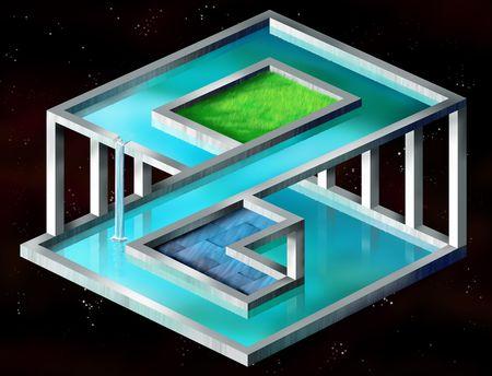 Original illustration of an impossible surreal construct illustration