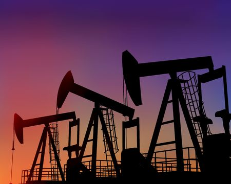 oilfield: Illustration of three oil wells in the desert at dusk