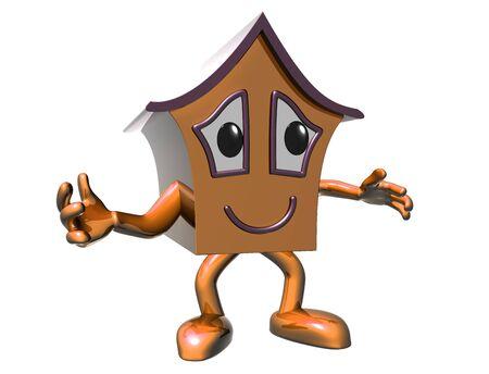 Isolated illustration of a very happy cartoon house Stock Photo