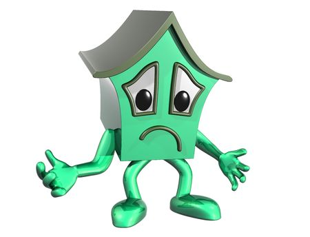 downturn: Isolated illustration of a very unhappy cartoon house Stock Photo
