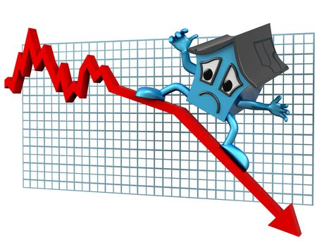 repossession: Isolated illustration of a house surfing downwards on a declining graph