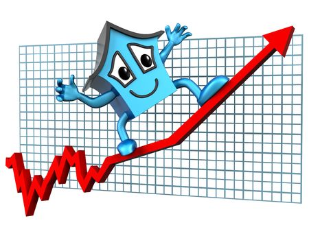 Isolated illustration of a house surfing skywards on a rising graph Stock Illustration - 5461806