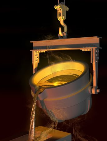 molten: Illustration of molten metal being poured from a foundry crucible