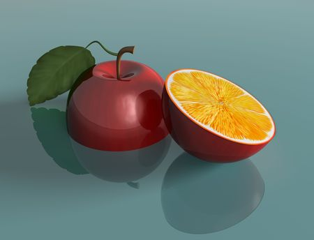 genetically engineered: Illustration of a genetically engineered apple with the juice of an orange