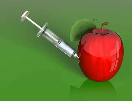 gm: Stylized illustration of an apple being injected with a mysterious liquid
