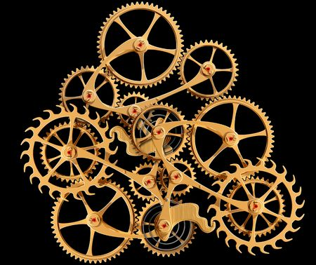 interdependent: Illustration of precision engineered cogs and gears isolated on black Stock Photo