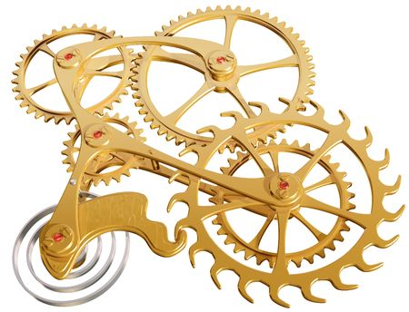 Isolated illustration of precision cogs and gears illustration