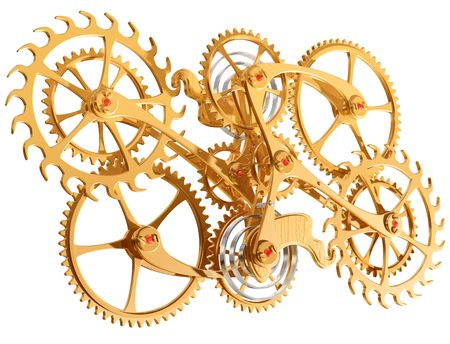 clockworks: Isolated illustration of precision cogs and gears Stock Photo