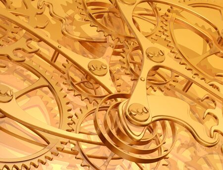 engineered: Illustration of a golden background using precision engineered cogs and gears
