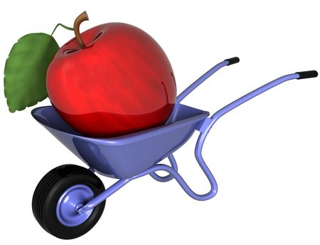 gm: Isolated illustration of a giant apple sitting in a wheelbarrow