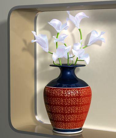 Illustration of a vase of elegant flowers on a modern shelf illustration