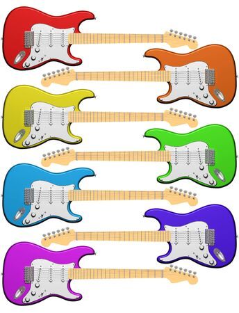 stratocaster: Isolated illustration of seven electric guitars in colors of the rainbow