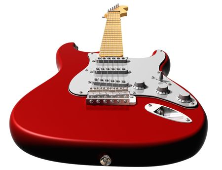Isolated illustration of a red electric guitar  illustration
