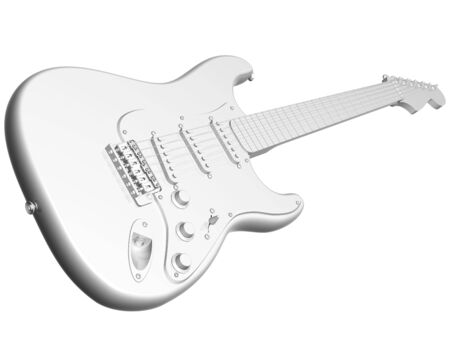 stratocaster: Illustration of an isolated all white electric guitar Stock Photo