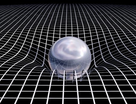 gravedad: Ilustraci�n original que muestra el v�nculo entre el tiempo de espacio y de la gravedad  Foto de archivo