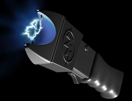 electroshock: Original illustration of a generic stun gun on black background