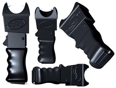 electroshock: Original illustration of a generic stun gun viewed from various angles