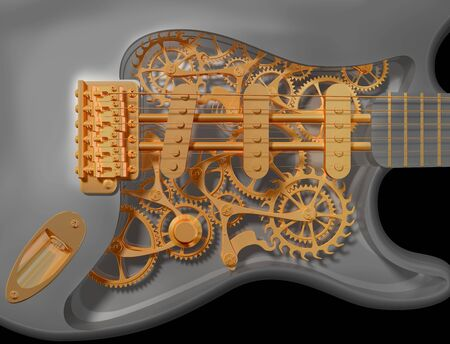 workings: Detail of an original custom clockwork guitar
