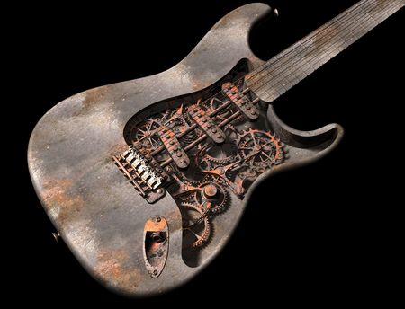 engineered: Original illustration of a dirty grungy steam punk guitar