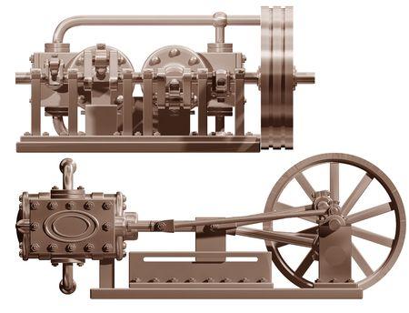 maquina de vapor: Ilustraci�n original de un frente de la m�quina de vapor y de cara