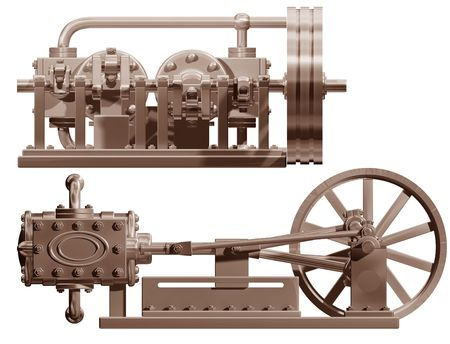 Original illustration of a steam engine front and side Stock Illustration - 6255403