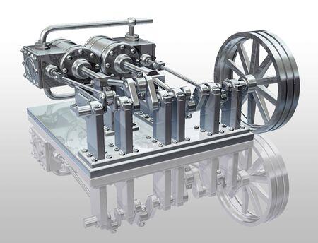piston: Original illustration of a twin cylinder steam engine