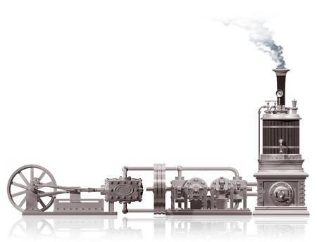 steam machine: Original illustration of a steam plant motif Stock Photo