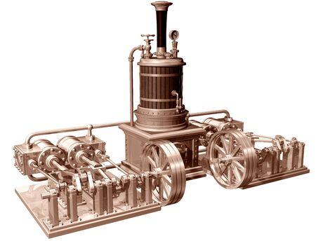 maquina vapor: Ilustración original de un motor de vapor de cuatro cilindros y caldera