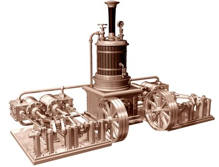 Original illustration of a four cylinder steam engine and boiler