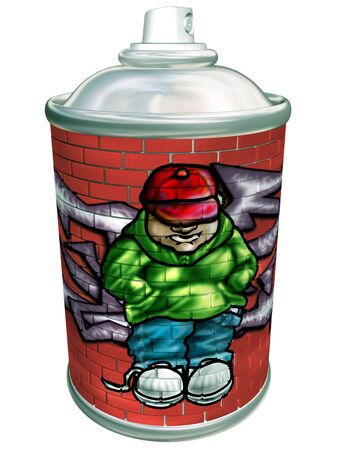 tagging: Isolated illustration of a graffiti artist spray can
