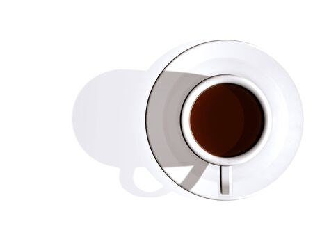 birds eye view: Stylish illustration looking down on a cup of coffee