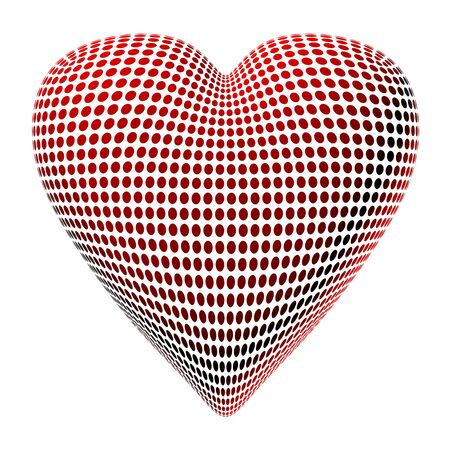 special occasions: Isolated illustration on an abstract heart made of red dots Stock Photo