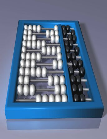 accountancy: Illustration of an authentic abacus on a shiny surface Stock Photo
