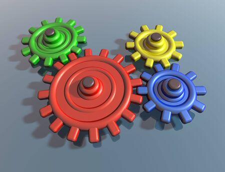 interlocking: Illustration of brightly colored interlocking cogs on a shiny surface