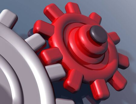 interlocking: Illustration of brightly colored interlocking gears on a shiny surface