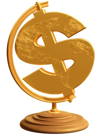 Isolated illustration of a globe in the shape of a dollar symbol illustration