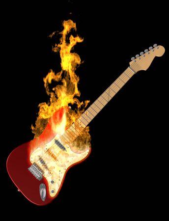Illustration of an electric guitar on fire Foto de archivo