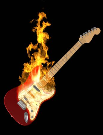 danger: Ilustración de una guitarra eléctrica en fuego