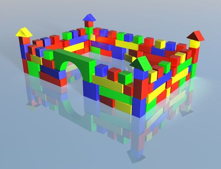 constructed: Illustration of a fortress constructed from wooden blocks