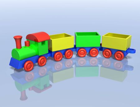 Illustration of a toy train on a shiny surface illustration