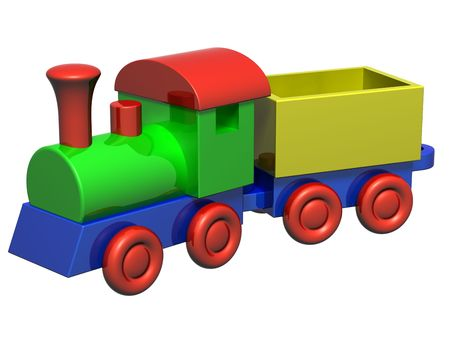 birthday train: Isolated illustration of a wooden toy train