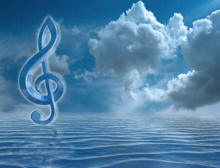 musical notation: Blue music symbol in a harmonious seascape