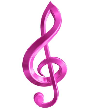 notes musicales: Originale illustration isol� d'un symbole de la musique rose Banque d'images