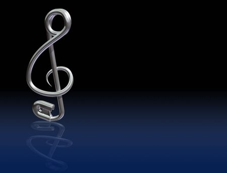 Illustration of a safety pin bent into the shape of a musical symbol Stock Illustration - 6496914