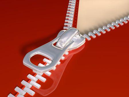 fetish: Original illustration of a partially open zip Stock Photo