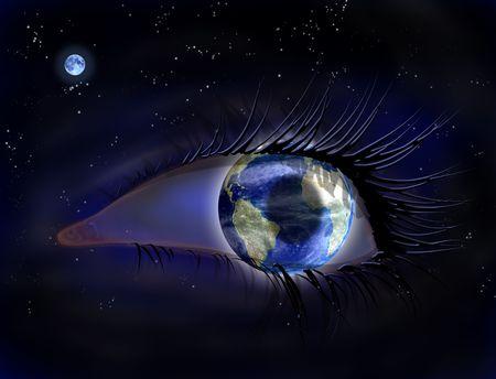 concept magical universe: Ilustraci�n surrealista de un ojo de la tierra en el espacio