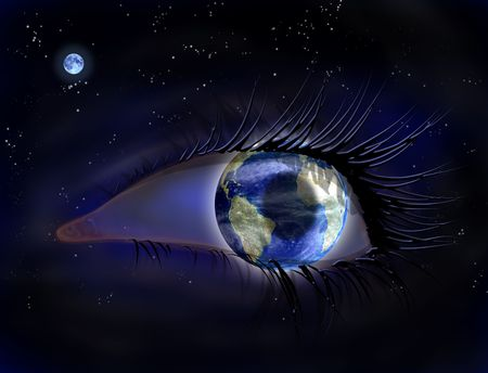 concept magical universe: Surreal illustration of an earth eye in space