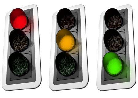 se�ales trafico: Ilustraci�n aislado de tres luces se�alizaci�n de tr�fico Foto de archivo